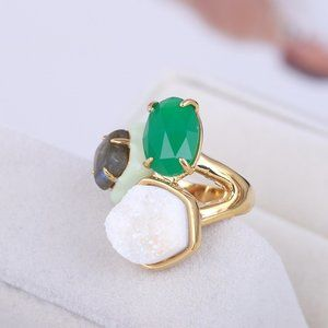 Alexis Bittar Natural Frosted Stone Open Ring